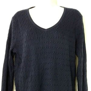 Talbots V-neck Cable Knit Sweater Petite Size LP